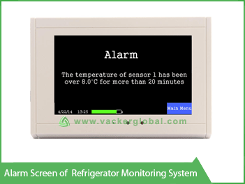 Alarm Screen of Refrigerator Monitoring System VackerGlobal